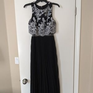 Beautiful black & silver popover evening gown